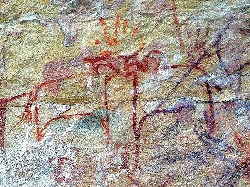 Animaux préhistoriques dans une grotte du Chhattisgarh en Inde à Ongna