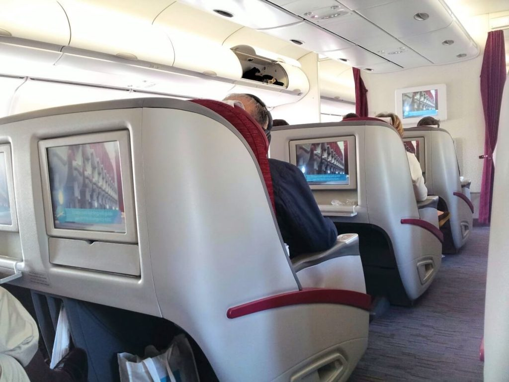 Intérieur avion Qatar Airways