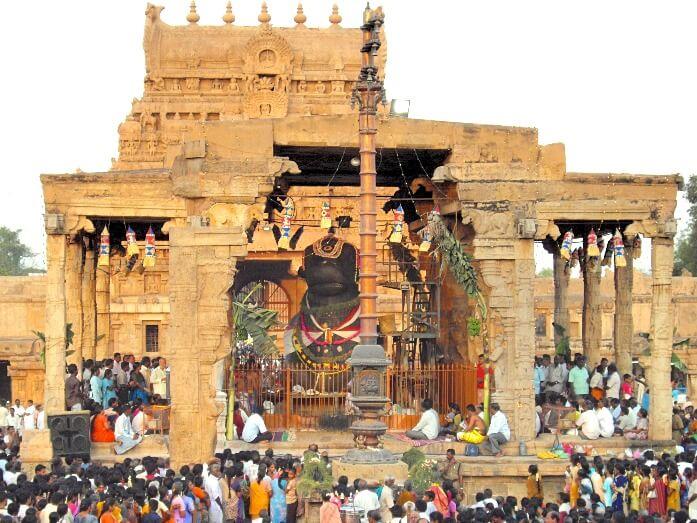 Pradosham au temple de Brihadesvara à Thanjavur Tamil Nadu
