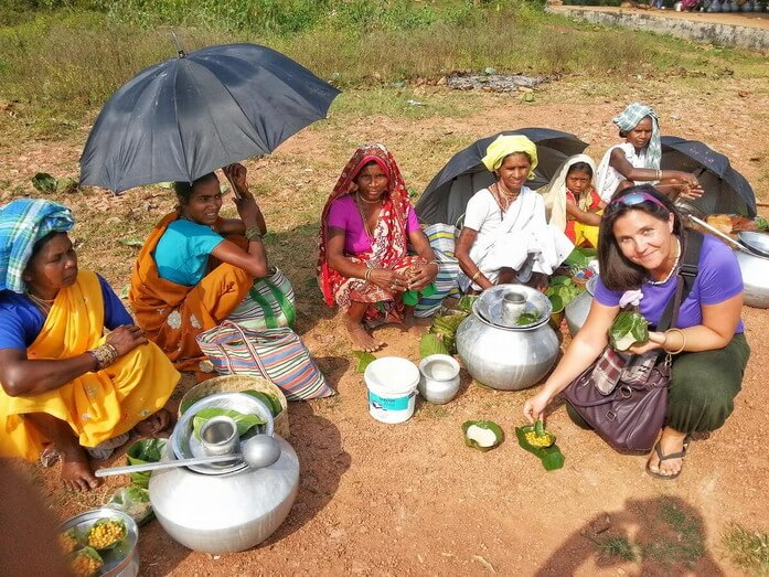 Tribal women selling local alcohol and Tribal food in Bastar market Chhattisgarh India