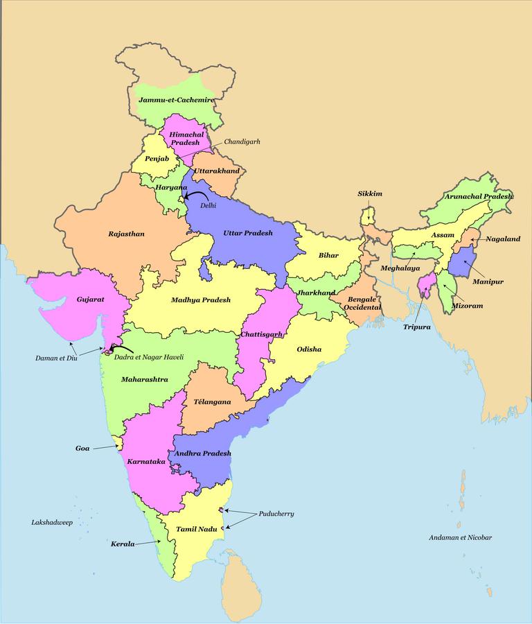 Carte de l'Inde avec ses états