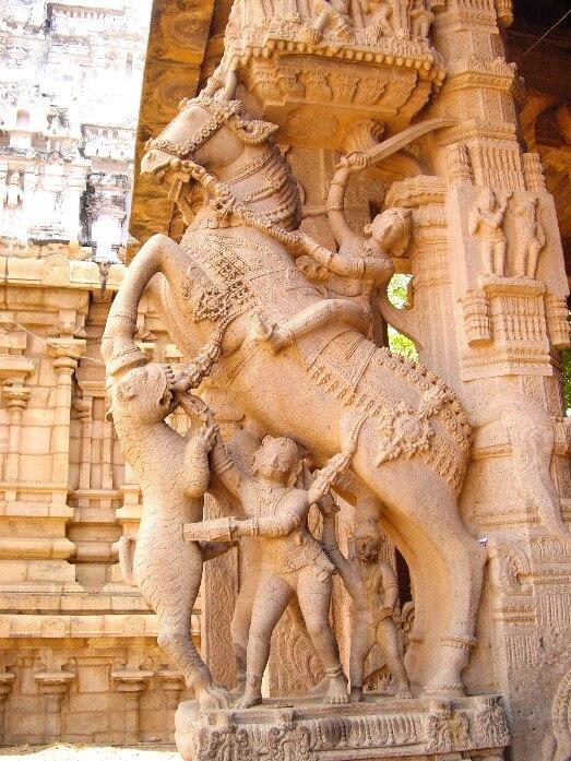 Chevaux du temple de Srirangam Tiruchirapalli Tamil Nadu Inde