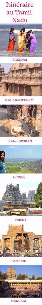 Itinéraire de voyage au Tamil Nadu en Inde avec les lieux à visiter - infographie