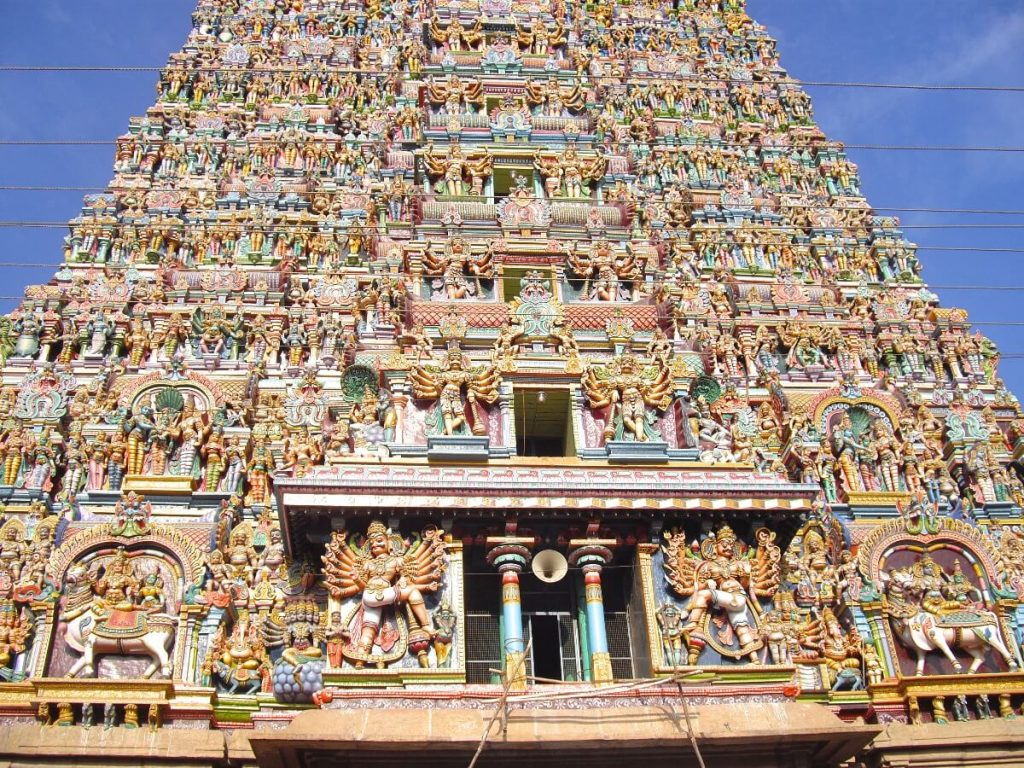 Entrée du temple de Madurai Tamil Nadu Inde