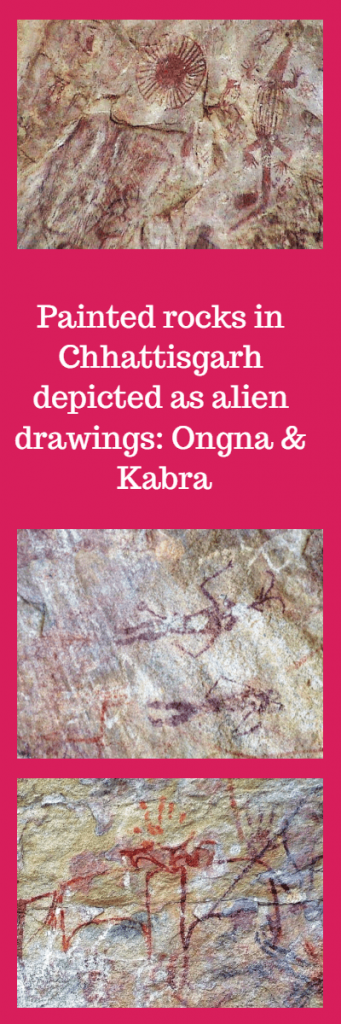 Painted rocks in Ongna and Kabra close to Raigarh Chhattisgarh India