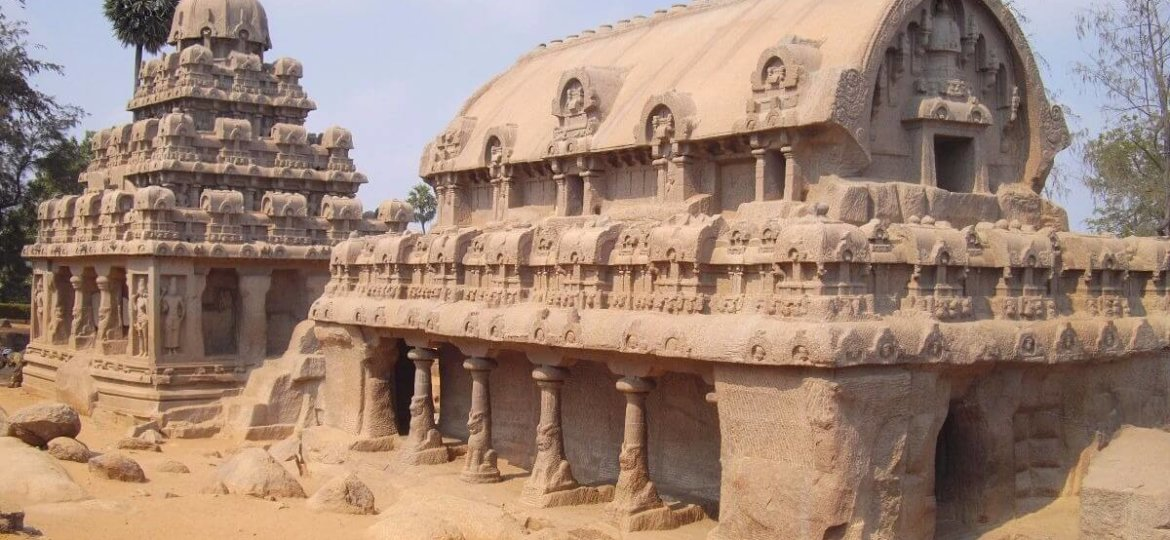 Famous temples in Tamilnadu India - The Five Rathas Mahabalipuram