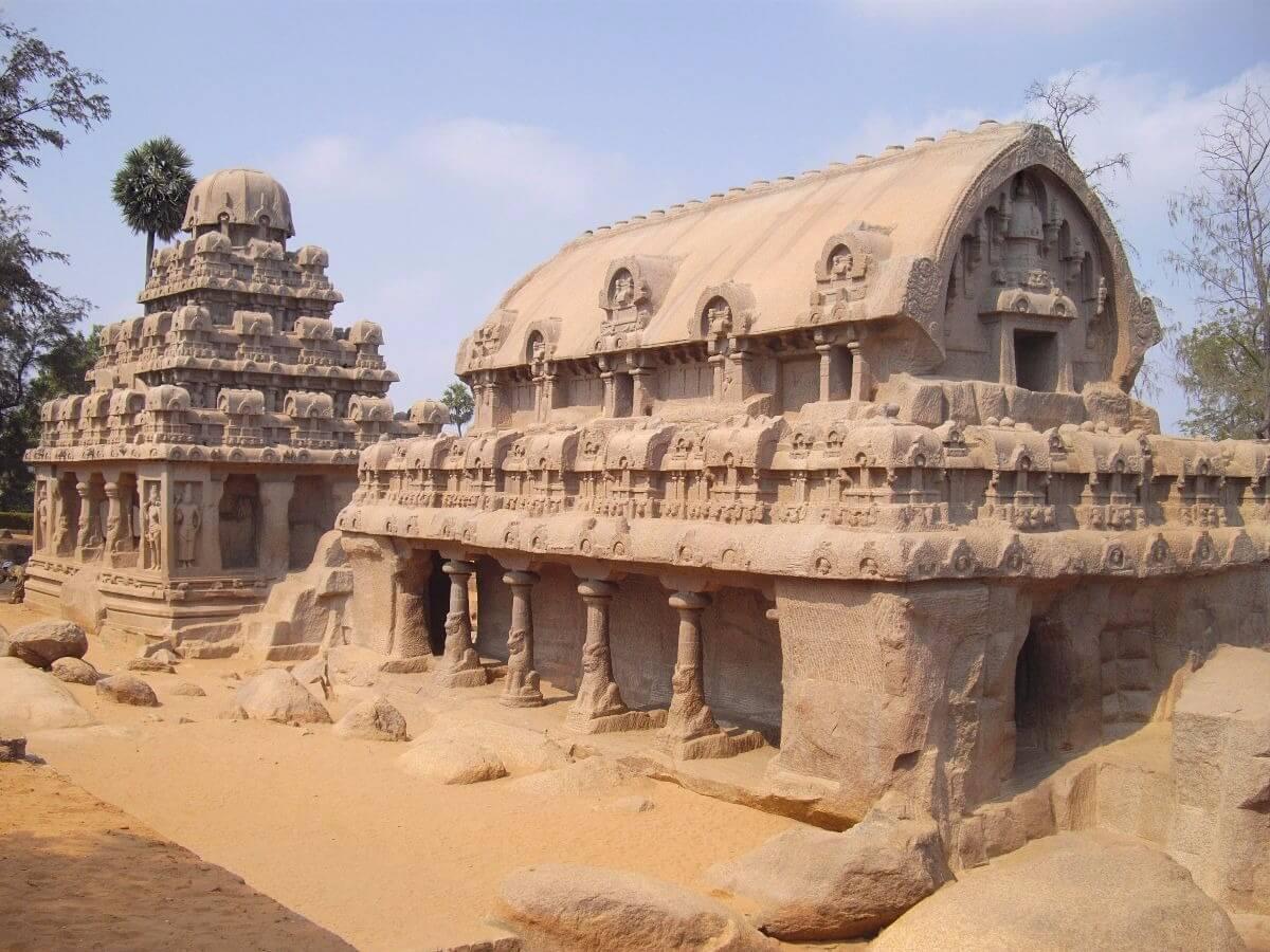 Famous temples in Tamilnadu India - The Five Rathas Mahabalipuram