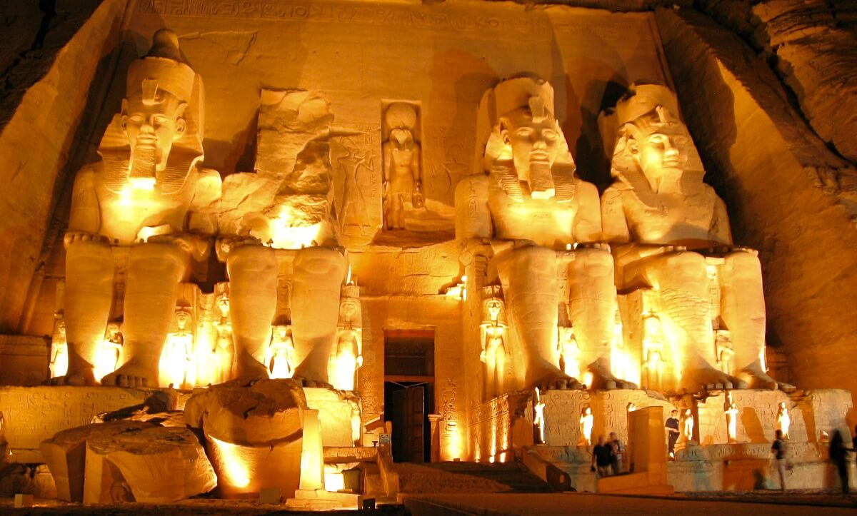 The Colossus of Ramses II after the beautiful sound and light show in Abu Simbel in Egypt