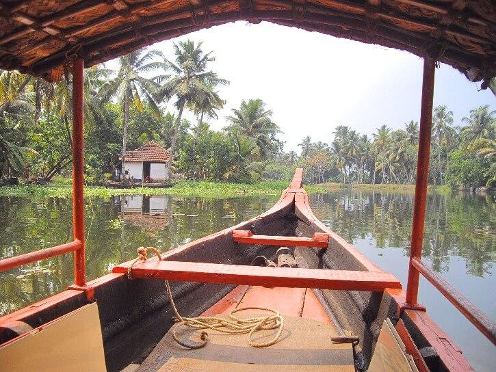 Promenade en canoe en bois sur les backwaters d'Alleppey au Kerala