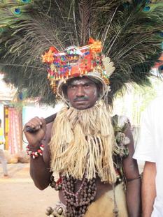 Dandari dancer during Gussadi festival in Telangana India