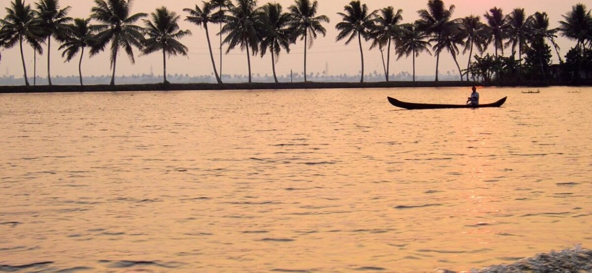 Sunset on the backwaters of Alleppey in Kerala South India