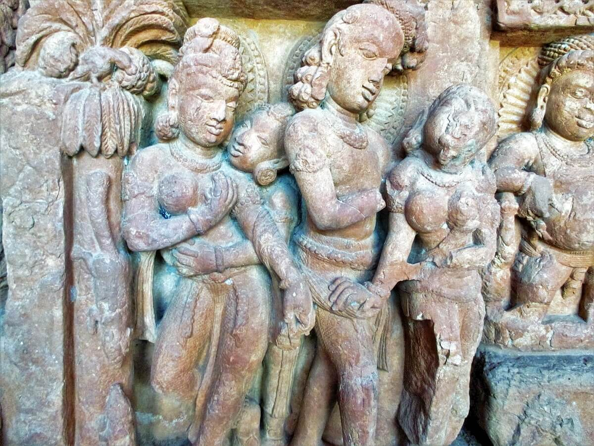 Erotic sculpture of Sirpur Buddha temple representing an orgy scene