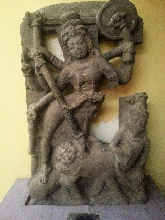 A beautiful statue of an Hindu God fighting in Sirpur CG museum