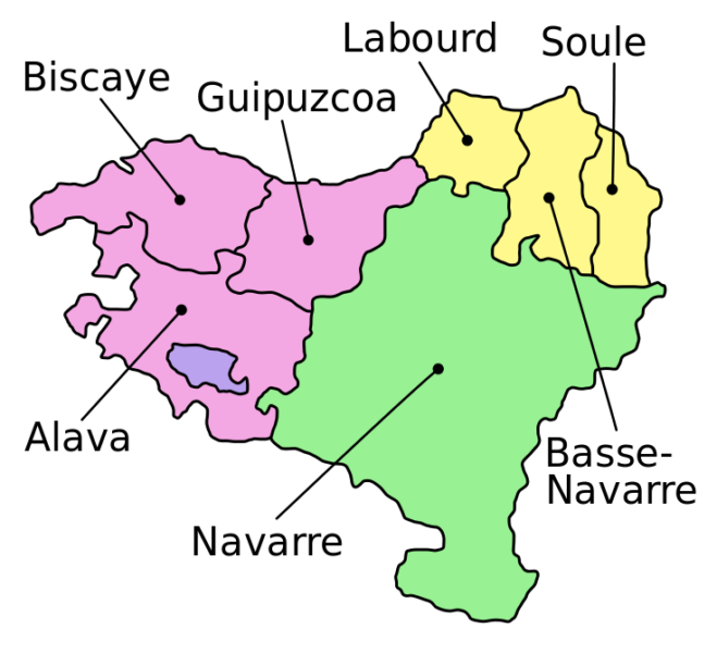 The map of the 7 Basque provinces