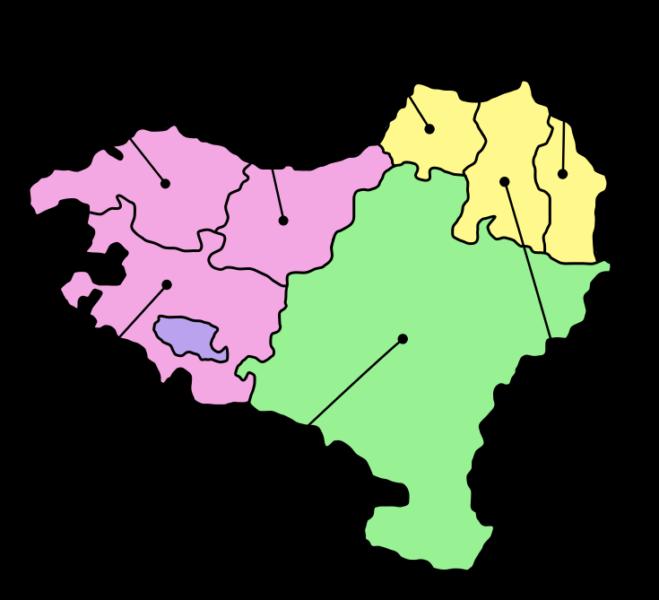 Carte des 7 provinces du Pays Basque