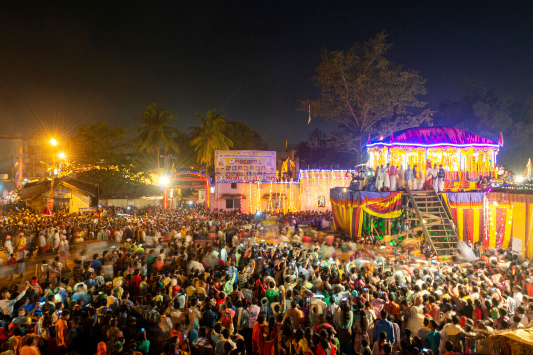 Bastar Dussehra's rath or big chariot, illuminated at night