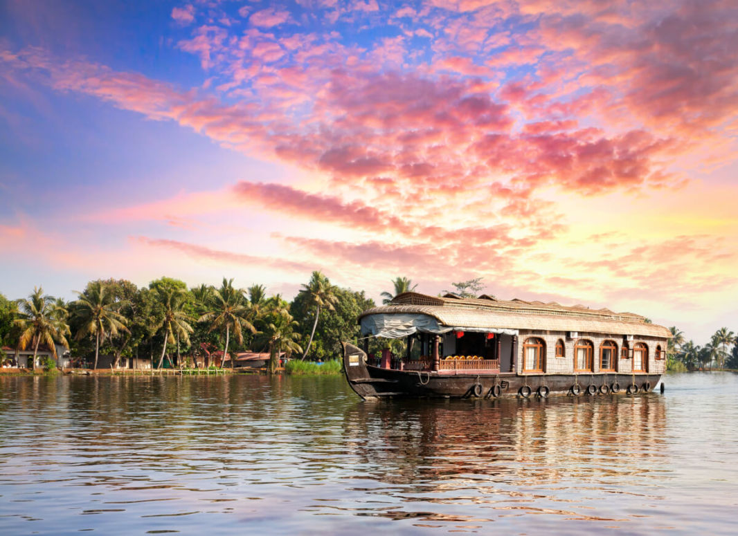Houseboat on the Kerala backwaters at sunset