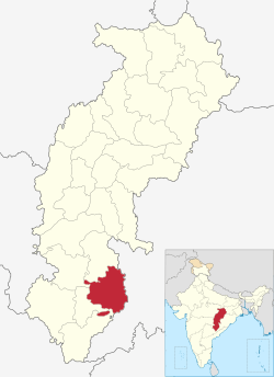 Localisation of Bastar district on the map of Chhattisgarh state