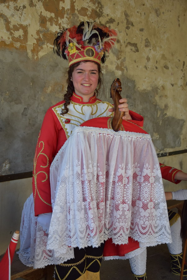 Young woman with the Basque horseman attire