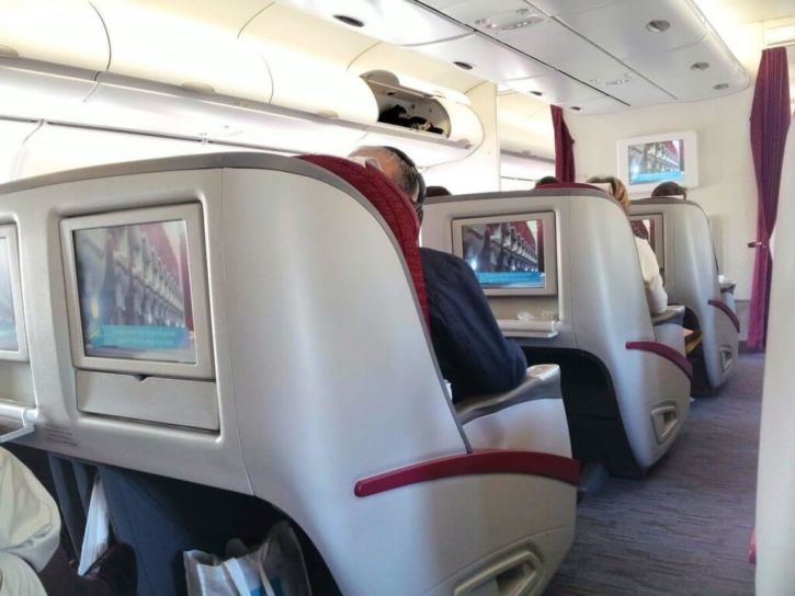 The seats of Qatar Airways Business Class