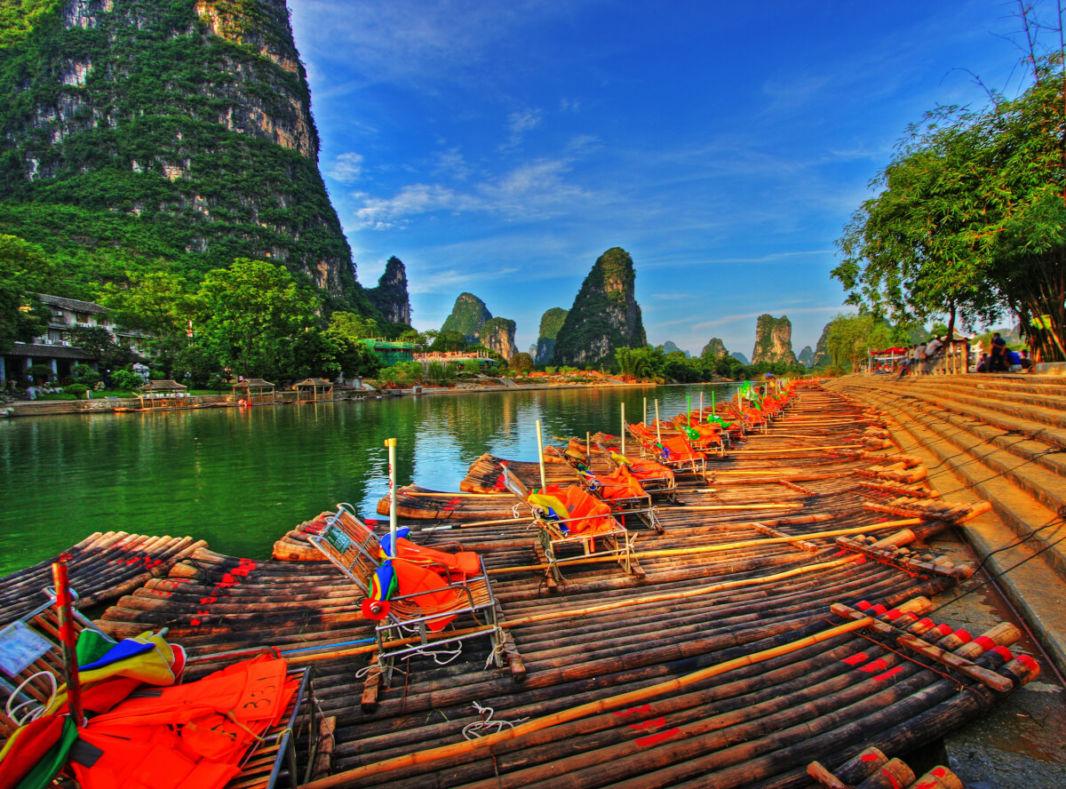 Bamboo boats and karst peaks on Li River