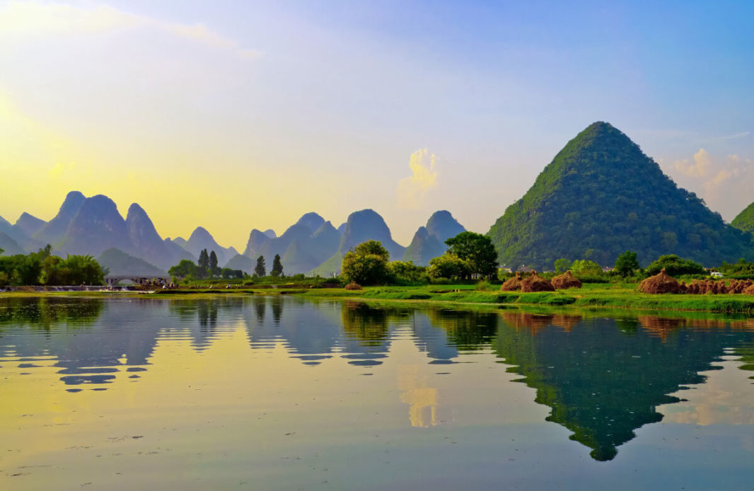 View of Li River's karst peaks