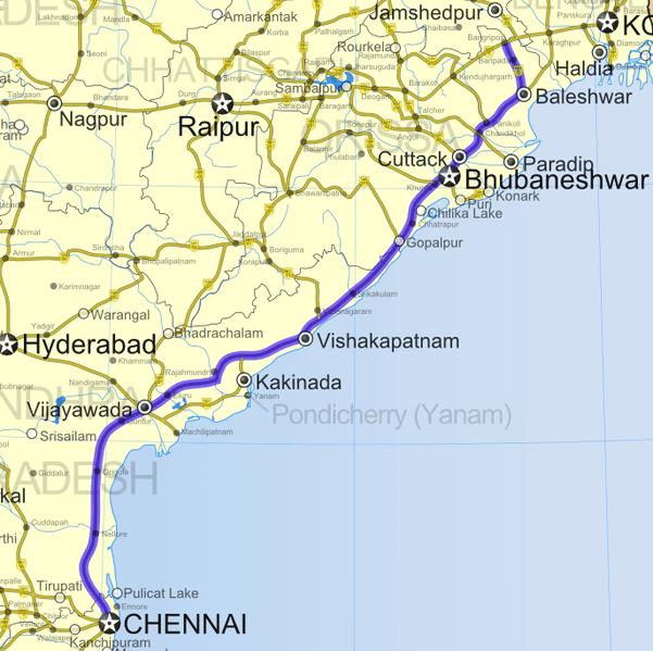 Localisation de Vishakapatnam par rapport à Chennai, Bhubaneswar, l'Orissa et le Bastar
