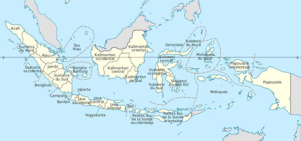 Map of Indonesian islands