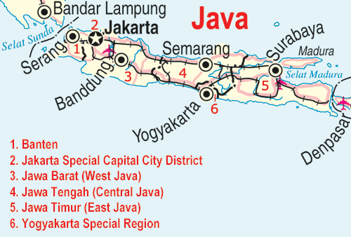 Map of Java with the main cities
