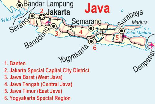 Ile de Java avec les villes principales