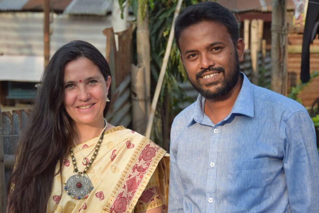 Stéphanie Langlet et un ami indien