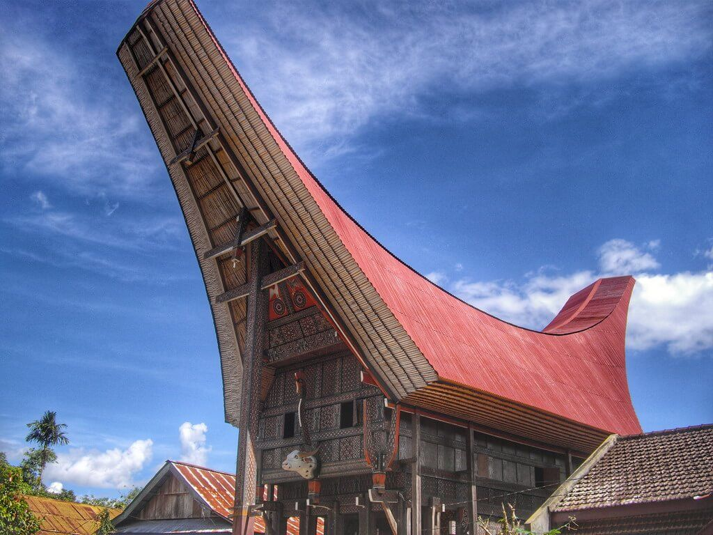 Traditional Toraja house with boat-style roof