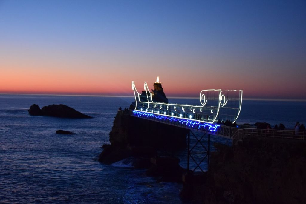 Rocher de la Vierge illuminated during Biarritz en lumiere Christmas show in 2017