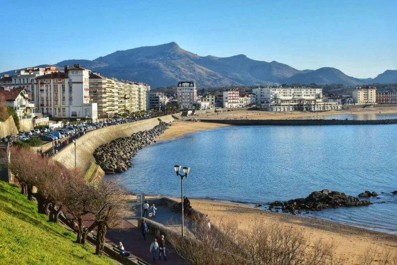 St Jean de Luz beach and Pyrenees