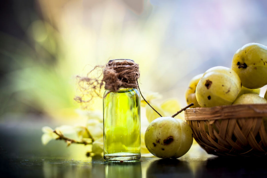A pure amla oil bootle with fruits