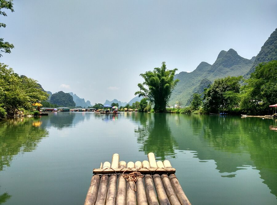 From a bamboo raft on Li River