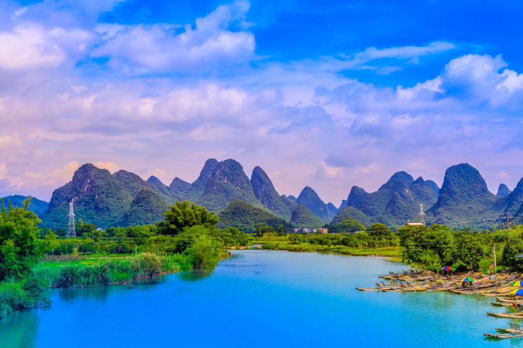 Sunset on Li River close to Xinping
