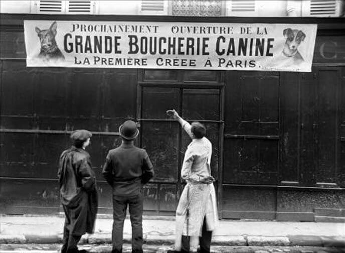 """3 men looking at a flag """"1st meat dog grocery in Paris"""""""