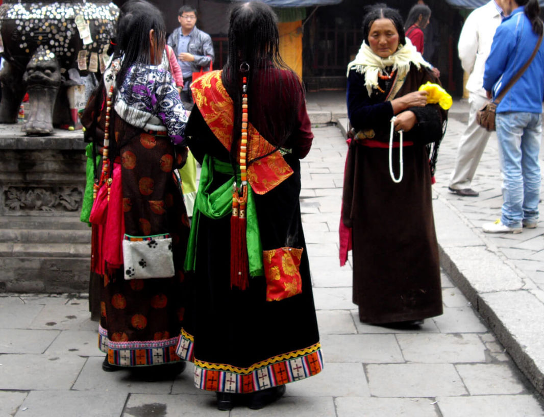 Tibetan women wearing traditional attire