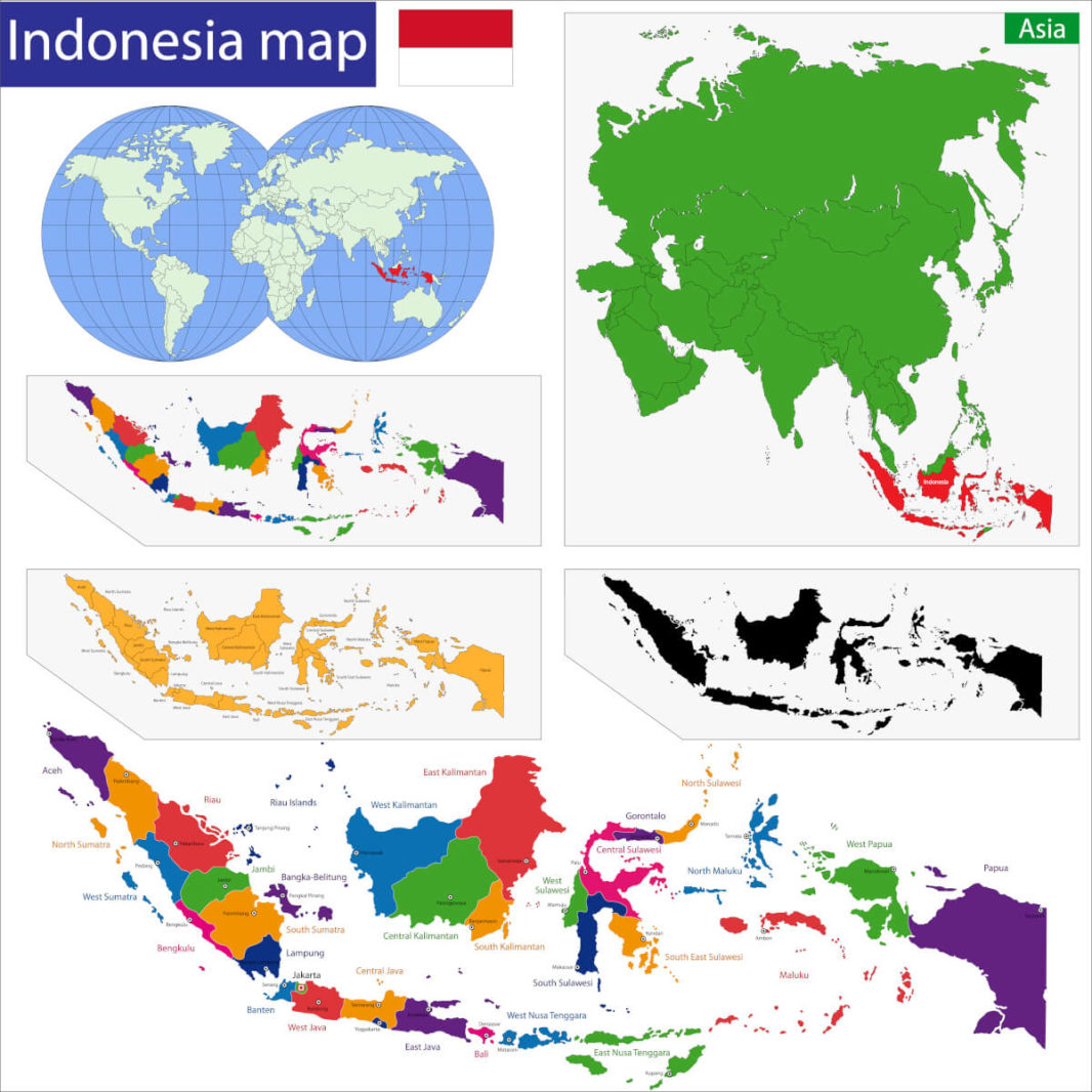 Map of Indonesia in the world, in Asia and the Indonesian islands