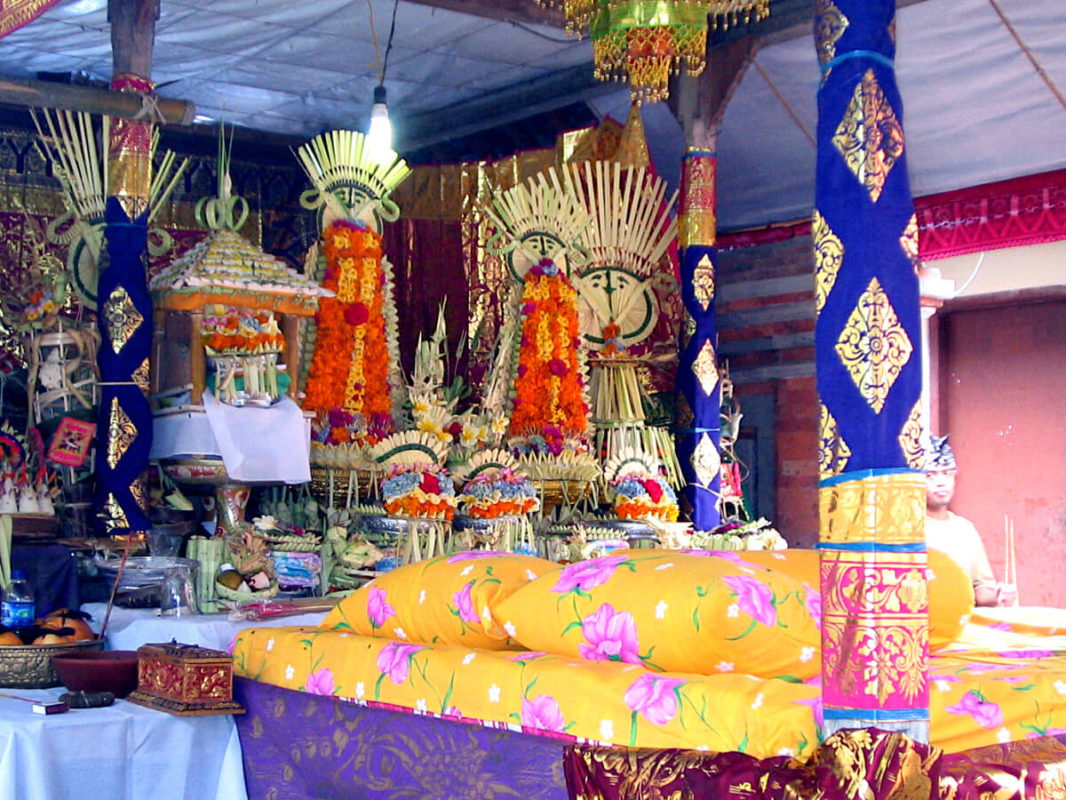 Decorated Balinese platform with an altar