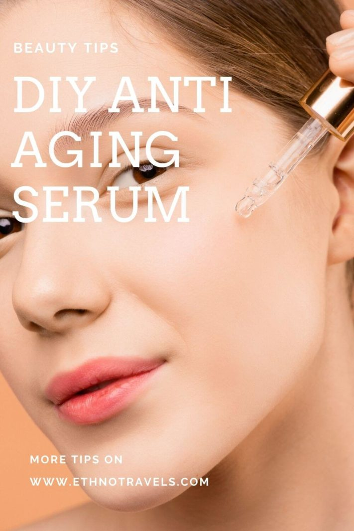 Woman face with serum pipette